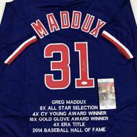 Autographed/Signed GREG MADDUX Chicago Blue Stat Baseball Jersey JSA COA Auto