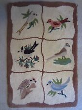 Antique Hooked Wool Rug~Birds~Woodpecker, Swallow Tail, Blue & Red Birds~Brown