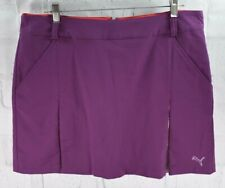 New Puma Dry Cell Golf Pleated Woven Skort Skirt Purple Women's Sz 14 $70