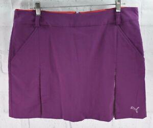 New Puma Dry Cell Golf Pleated Woven Skort Skirt Purple Women's Sz 14 $70