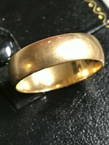 14k Yellow Gold 7mm Comfort-Fit  Wedding Ring Sz 12 Marked N W inside a big w,.1