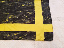 """Pocket Square Silk Scarf Black Gray Yellow 17"""" x 17"""" Made in England NWOT"""