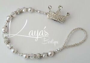 *Diamante Crown* Bling Romany Crystal & Pearl Shamballa Dummy Clip Unisex White