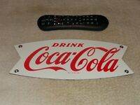 "VINTAGE NOS! DRINK COCA COLA FISHTAIL 12"" PORCELAIN METAL SODA GASOLINE OIL SIGN"