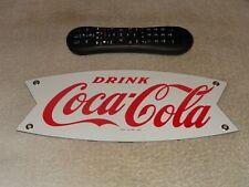 """VINTAGE NOS! DRINK COCA COLA FISHTAIL 12"""" PORCELAIN METAL SODA GASOLINE OIL SIGN"""