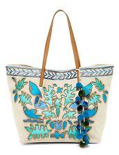 Steve Madden Handbag Tote Beige Blue Tucker Beaded Embroidered Pompom Large $115