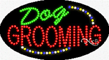 "NEW ""DOG GROOMING"" 27x15 OVAL SOLID/ANIMATED LED SIGN w/CUSTOM OPTIONS 24193"