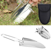 23cm Stainless Steel Folding Handle Shovel Trowel Spade With Carry Bag Camping