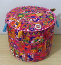 Indian Handmade Pink Round Ottoman Pouf Cover Vintage Patchwork Home Decorative