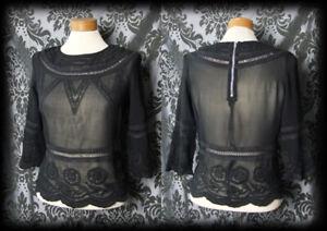 Gothic Black Sheer Embroidered AFTER DARK Blouse 8 10 Romantic Vintage Boho