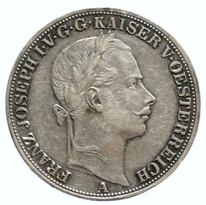 1857 A AUSTRIA w KING FRANZ JOSEPH I Vintage Eagle Old Silver Thaler Coin i96092