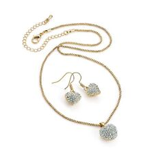 Gold Colour Crystal Heart Pendant and Earring Set