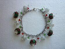 *Stainless Steel ChristmasCharm Bracelet Glass Lampwork Green/Red Flowers