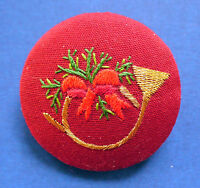 Hallmark PIN Christmas Vintage STITCHERY FRENCH HORN Embroidered Holiday Brooch