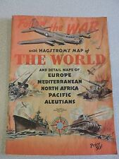 """VINTAGE HAGSTROM'S MAP OF THE WORLD """"FOLLOW THE WAR""""  42x32  - RARE"""
