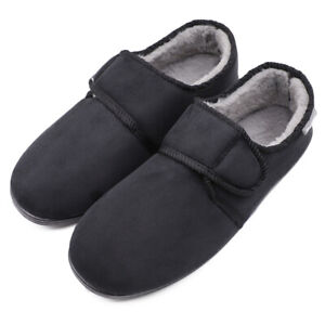 Men's Thick Fleece Diabetic Slippers Edema Swollen Feet Seniors House Shoes