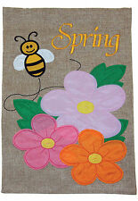 New listing New Toland - Spring Bee Burlap - Colorful Flower Garden Flag