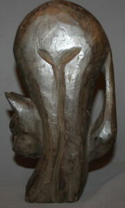 VINTAGE HAND CARVED WOOD CAT STATUETTE