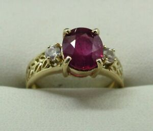 Lovely 9 carat Gold Ruby And White Sapphire Ladies Dress Ring Size N