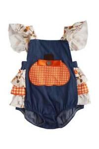 Floral Print Pumpkin Applique Baby Romper  6-12 Months