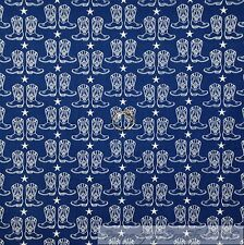 BonEful Fabric Cotton Quilt Blue White America*n Star Stripe Cow*boy Boot SCRAP