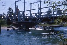 KODACHROME Slide 1960s 1964 speedboat boat bridge GULF gasoline station sign