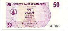 Zimbabwe 50 dollars 2006 bearer cheque   FDS  UNC    pick 41    lotto 3608