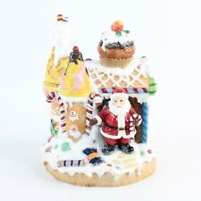 Fitz And Floyd Santa Glitter Gingerbread House Work Shop Music Box Sweets Candy