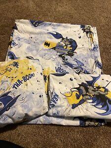 Pottery Barn Kids BATMAN 4 Pc Queen Sheet Set Flat Fitted 2 Pillowcases Bedding