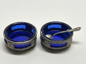 Antique Japan Silver Salt Cellars W/ Cobalt Blue Inserts Lot of 2, W/ 925 Spoon!