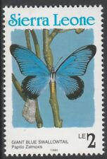 Sierra Leone 6804 - 1991 Schmetterlinge 2l COUNTRY in blau P14 nicht gefaßt