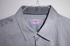 Mint $325 17x35 Equilibrio Mens Fitted XL Silver Ash Gray Shirt ITALY eu 43 Saks