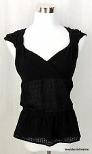 C. Keer Anthropologie M Black Stretch Waffle Knit Sheer Midriff Sexy Blouse