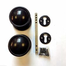 Plastic Rim / Mortice Door Knob Set BLACK For Shed Gate Garage Doors