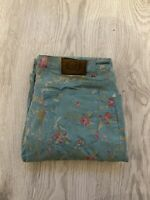 Roberto Cavalli Women's Floral Flower Rose Blue Green Mint Jeans Size- W34 L34