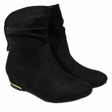 Womens Ladies Flat Faux Suede Slouch Low Heel Wedge Ankle BOOTS Shoes Size UK 6 / EU 39 / US 8 Black
