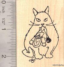 St. Patrick's Day Leprechaun with Cat Rubber Stamp  J16412  WM