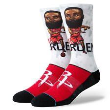Postura NBA Houston Rockets James Harden para hombre Big Head Rojo Negro Calcetines