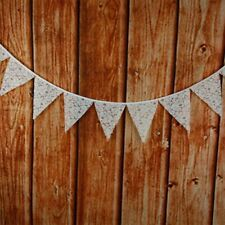 3.2M 12Flag White Lace Triangle Flag Banner Pennant Wedding Birthday Party Decor