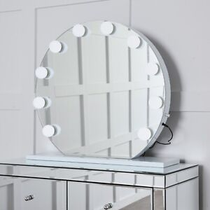 NICHES Large 65cm Round Hollywood Vanity Makeup Mirror 10 Dimmable LED bulbs