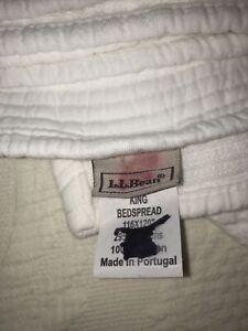 "LL Bean White 100% Cotton King Size Matalasse Coverlet Quilt 116"" X 120"" EUC"