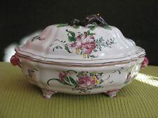 Ancienne terrine soupière légumier XVIII XIX France Faïence fleurs céramique