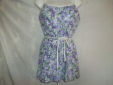 Vintage Lanz Swimsuit Bathing Suit Size 12 Ruched Floral Purple 2 Piece Cotton