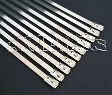 """10 PACK 8"""" STAINLESS STEEL CABLE TIES STRAPS WRAP HIGH TENSILE 122 LB BALL LOCK"""