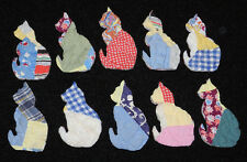 10 PRIMITIVE ANTIQUE CUTTER QUILT CATS! Kitties Scrapbooking! Applique! Colorful