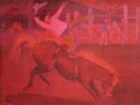VINTAGE CROATIAN AMERICAN LIKAN COWBOY RODEO HORSE TX PAINTING WESTERN AMERICANA