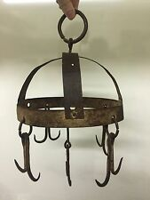 Antique New England 1800s Wrought Iron Hanging Game Meat Rack Butcher Aafa Pot