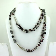 LONG NECKLACE NATURAL FACETED RED GARNET GEMSTONE BEADED BEAUTIFUL 106 GRAMS
