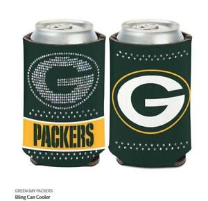 Green Bay Packers Ladies Tin Coolers NFL Football Can Cooler Rhinestone