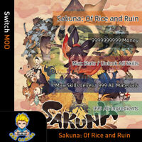 Sakuna: Of Rice and Ruin (Switch Mod)-Max Stats/Money/Level/Material/Ingredient